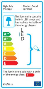 Energy label for the Good Surprise handcrafted lamp, this lamp use led and classic bulb
