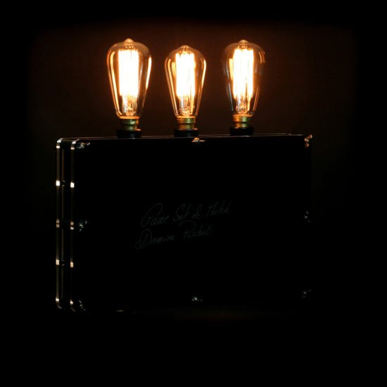 The original handcrafted lighting game set and match presented for sale by Light My Vintage and the mood created by this light and shade show is breath-taking