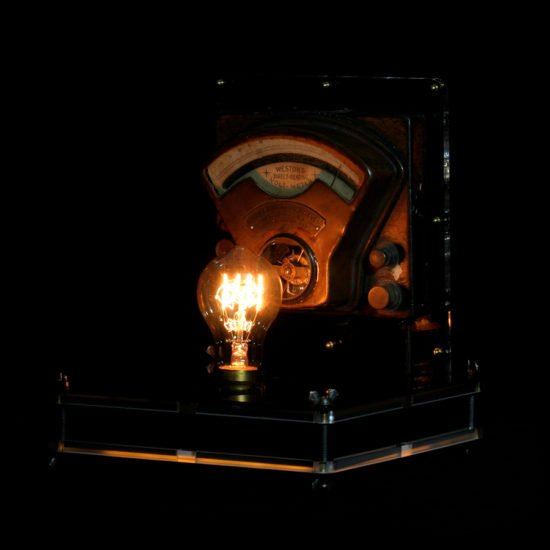 """Authentic vintage table lamp high voltage made by hand by Light My Vintage will accentuate its industrial look and made your space look very """"real"""""""