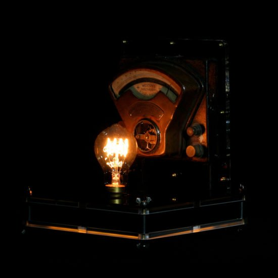 Authentic vintage table lamp high voltage crafted by Light My Vintage with a stunning industrial 1910's metallic look