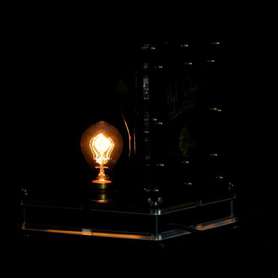 Authentic vintage table lamp high voltage presented for sale by Light My Vintage and the mood created by this light and shade show is breath-taking