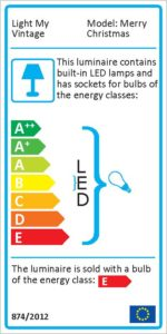 Energy label for the unique lighting Game Set and Match with a brass Lawn Tennis measure tape