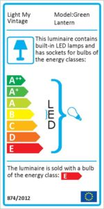 Energy label for the Green Lantern lighting, it works with two Edison bulbs and a green led strip