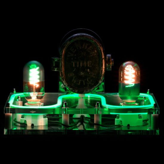 The steampunk industrial lamp Green Lantern Crafted from a electrical and industrial switch timer, this incredible industrial table lamp offers a distinct style that is reminiscent of decades past