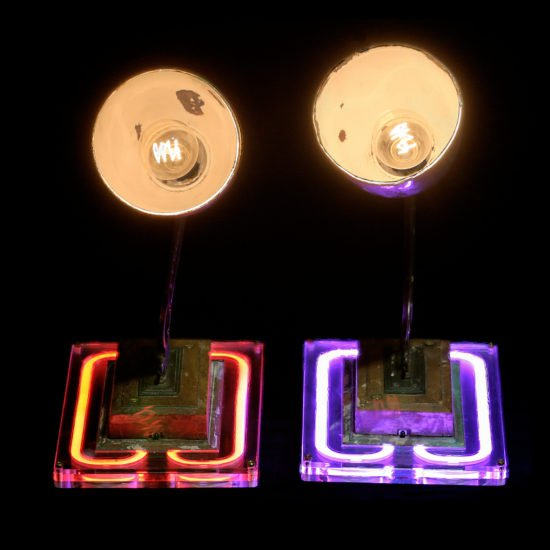 Authentic art deco wall lamps Les incorruptiblese crafted by Light My Vintage adds a touch of modernity.
