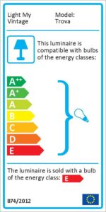 "Energy label for Trova Magnet-Lite Get Yours Today... a ""garage"" spirit"